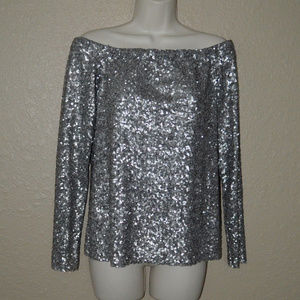 Sz M Bailey 44 Silver Sequin Off Shoulder Top